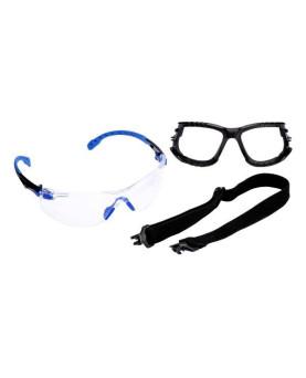 """Kit Schutzbrille farblos, mit Scotchgard-Beschichtung, """"Solus 1000"""" blau/schwarz, 3M S1101"""