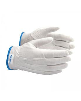 Baumwoll-Handschuh gebleicht, mit Schichtel, einseitig genoppt