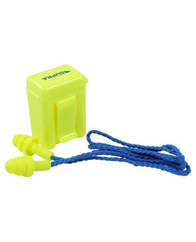Gehörschutzpfropfen mit Kordel in gelber Clip-Box, 30213