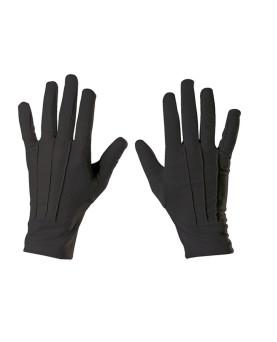 Baumwoll-Handschuh schwarz mit Schichtel ohne Noppen