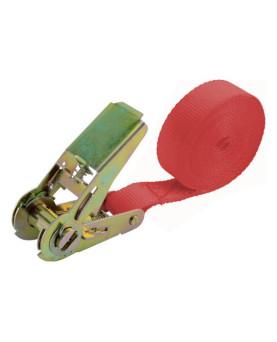 Zurrgurt 1-teilig rot, mit Ratsche, LC 400/800daN, 25mmx5.0m