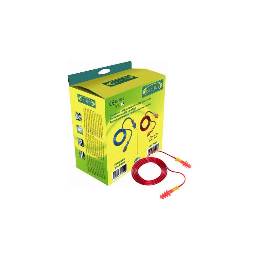 Gehörschutzstöpsel rot mit Kordel einzelverpackt, 30214, Pack à 150 Paar