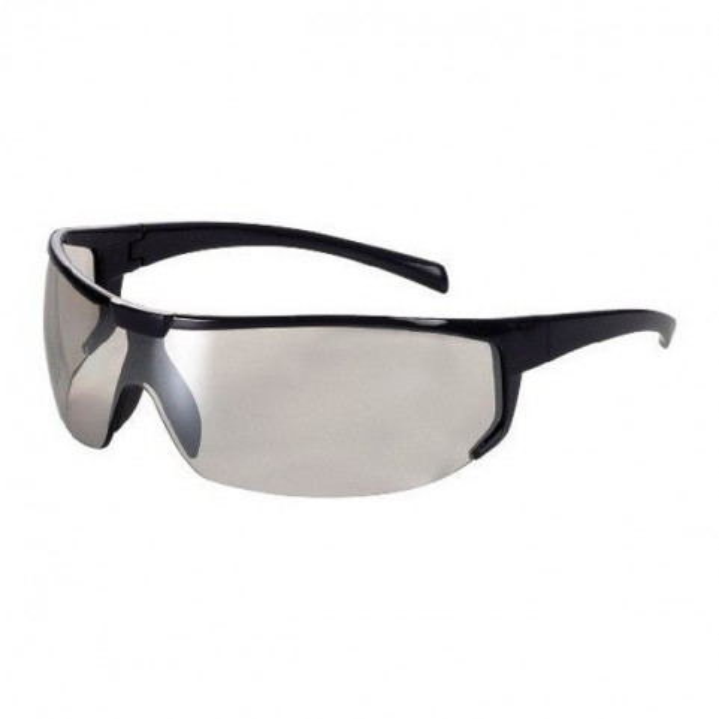 Schutzbrille farblos verspiegelt, mit blauem Rahmen, im italienischen Stil, Univet 5X4