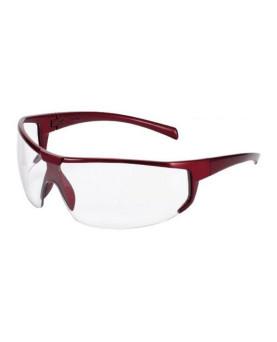 Schutzbrille farblos, mit metallic rotem Rahmen, im italienischen Stil, Univet 5X4