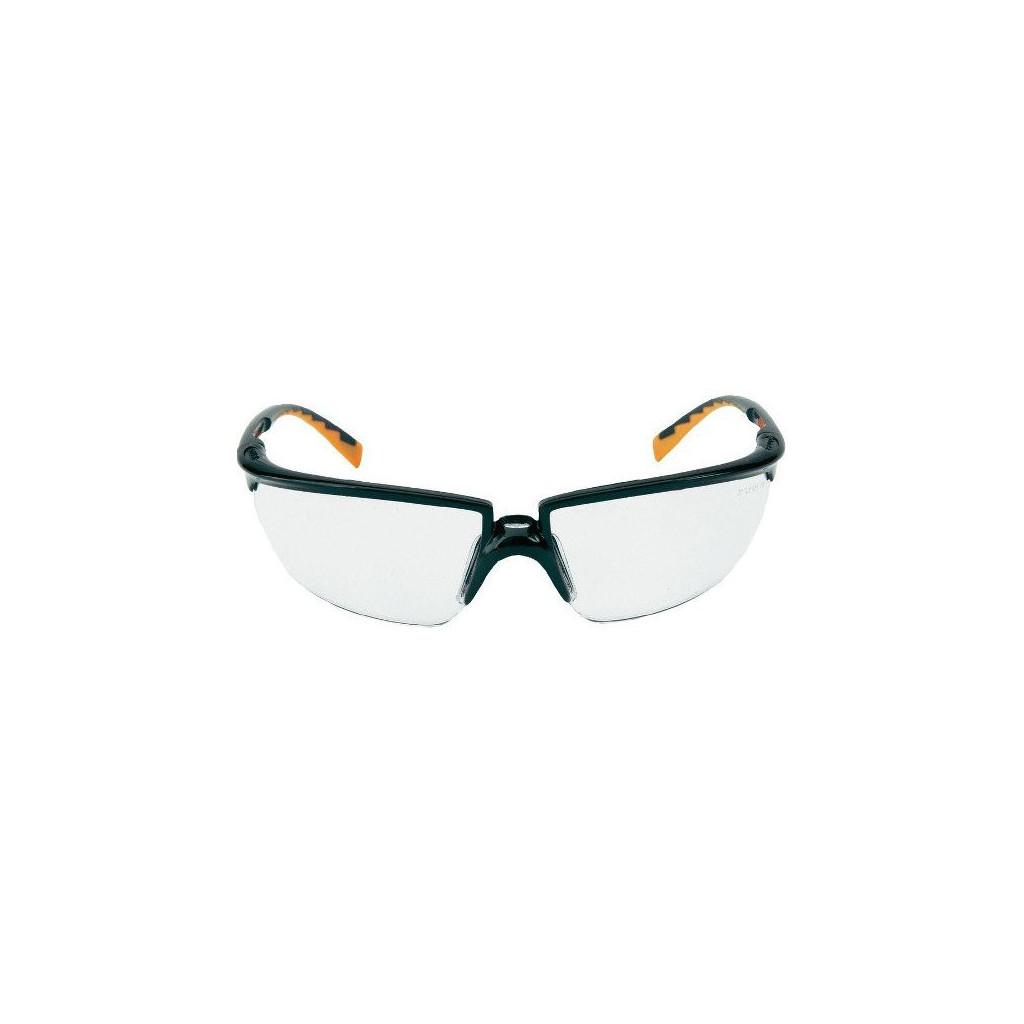 Solus Schutzbrille farblos, schwarz/orangen Rahmen, 3M 71505