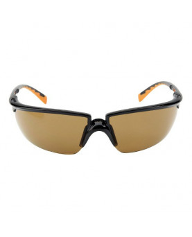 Solus Schutzbrille bronze getönt, schwarz/orangen Rahmen, 3M 71505